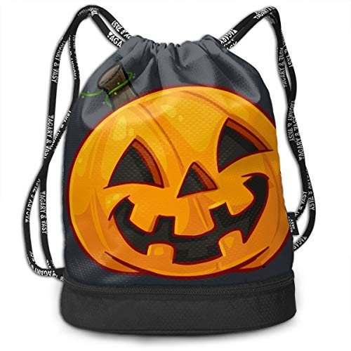 HESLOM MOO Pumpkin Face Halloween Drawstring Backpack Bag, Lightweight Shoulder Bag Sports Gym Swim Yoga Beach Bag for Men Women -