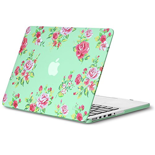 "Discount Kuzy - Vintage Flowers Rubberized Hard Case for Older MacBook Pro 15.4"" with Retina Display A1398 15-Inch Plastic Shell Cover - Vintage Flowers Mint"
