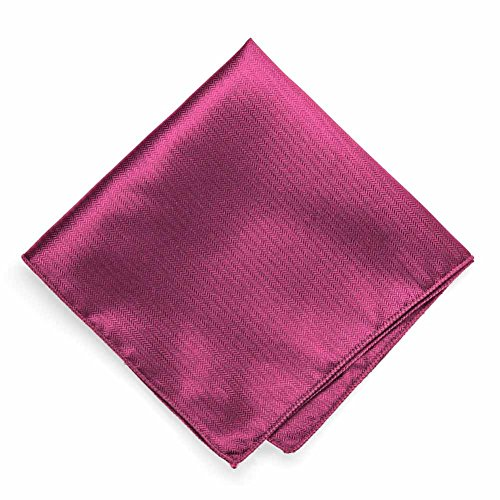 TieMart Magenta Herringbone Silk Pocket Square (Pocket Herringbone Silk Square)