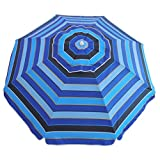 6.5 ft Outdoor Camping Beach Umbrella Sun Shelter with Air Vented UV Protection UPF 50+ Blue Stripe #93028 (6.5 FT, Blue Navy) For Sale