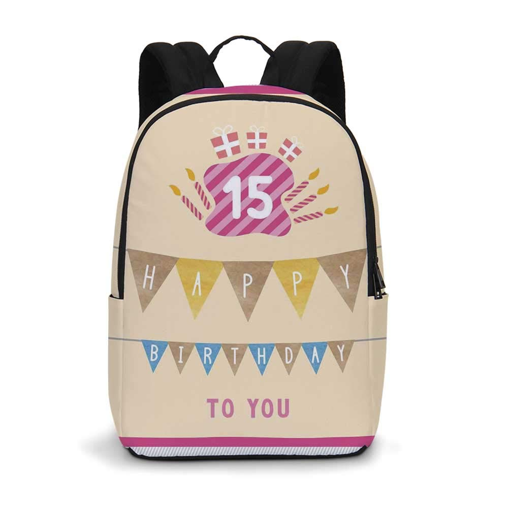 15th Birthday Decorations Modern simple Backpack,Pastel Colored Framework Flags Presents and Candles Greeting for school,11.8''L x 5.5''W x 18.1''H