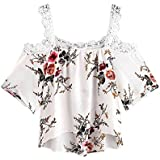 Litetao 2018 Short Sleeve Off Shoulder Lace Floral Blouse Roses Printed Casual Cute Tops T-Shirt (S, White)