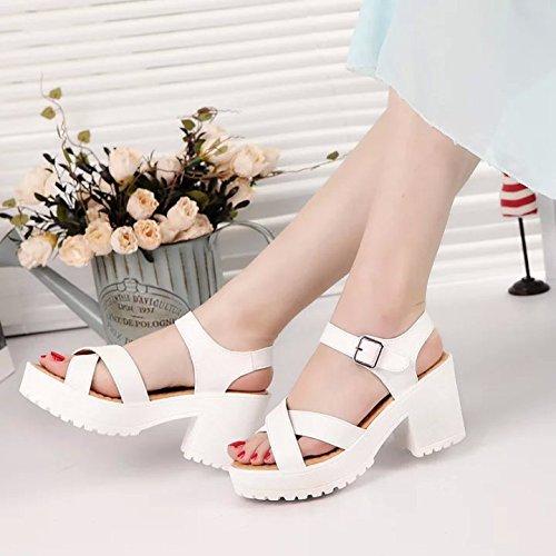 GAOLIM Zapatos De Mujer De Espesor Con Taiwán Impermeable Grueso Con Sandalias Sandalias De Verano Sandalias De Tacón Alto De Cabeza Redonda Ranurada Gruesos Tacones Bajos Con Tacones Altos (6-8Cm) Blanco