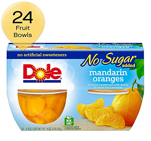 DOLE FRUIT BOWLS No Sugar Added Mandarin Oranges, 4 Cups (6 Pack)