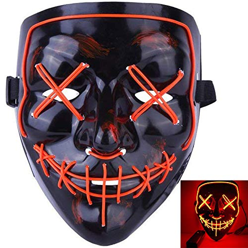 MeiGuiSha LED Halloween Purge Mask,Halloween Scary Cosplay Light up Mask for Festival Parties(Orange)