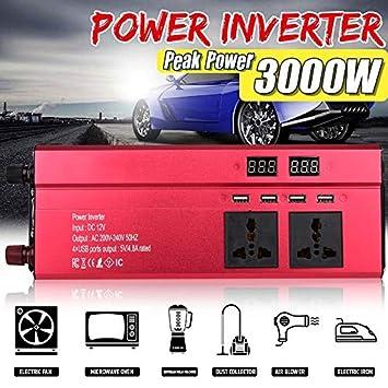 3000W Pico DC 12V a Ac220V 12V a 220V; Negro Leaftree Inversor de Corriente para autom/óvil 110V AC Power Power Inverter Convertidor de Salida USB para inversor de autom/óvil