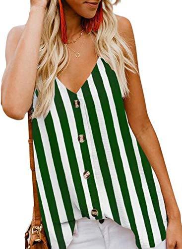 jonivey Women's V Neck Sleeveless Tank Tops Drape Sexy Casual Chiffon Cami Tops (Striped Green,S)