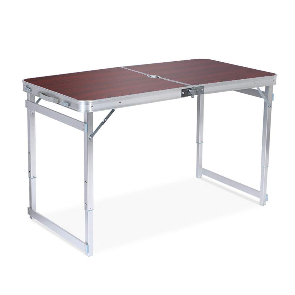 SHELFDQ Convenient Folding Table - Adjustable Height Aluminum Deformation Table for Indoor and Outdoor Use Modern (Color : Brown)
