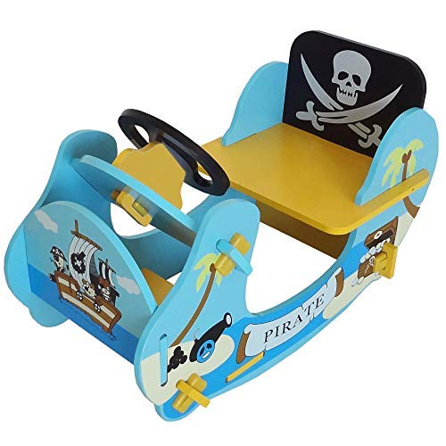 (Bebe Style Premium Wooden Pirate Theme Rocking Chair Boat for Toddlers Easy Assembly Blue)