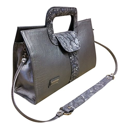 Gaspy Elena Women's Formal Evening Handbag, 100 Percent Colombian Leather (Lead Gray, Smooth Leather with Folia) by Gaspy