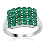 925 Sterling Silver 1.62cts Emerald Cluster Ring (Size 6)
