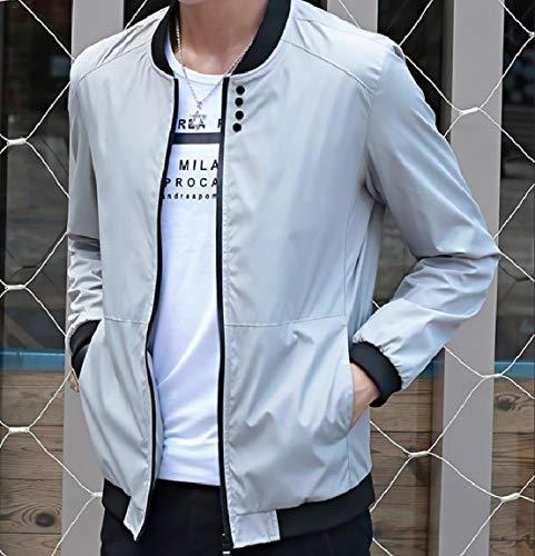 MogogoMen Collar Grey Baseball Zips Colored with Stand Jackets Solid up B1BarwqHn