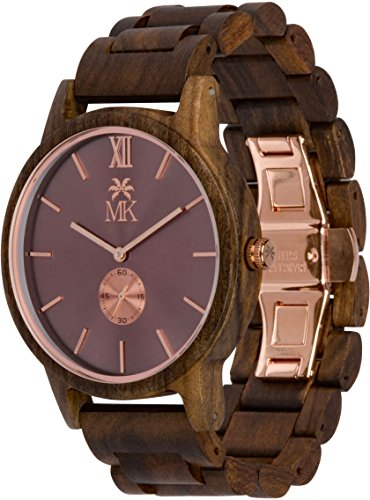 Wooden Watch For Men Maui Kool Kaanapali Collection Sandalwood Wood Watch Coffee Face Rose Gold Dial
