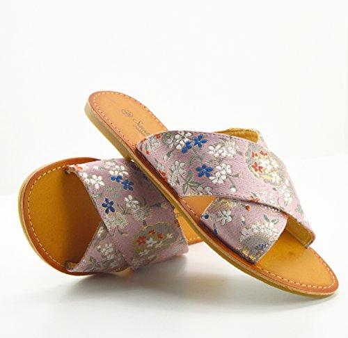 Kick Footwear Damen Zehentrenner, Floral Print Pink - Größe: 40