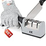 Knife Sharpener Kitchen Knife Sharpener Chef Edge Grip 3-Stage Diamond Wheels System Level-5 Cut-Resistant Glove Included [Pack Of 2]