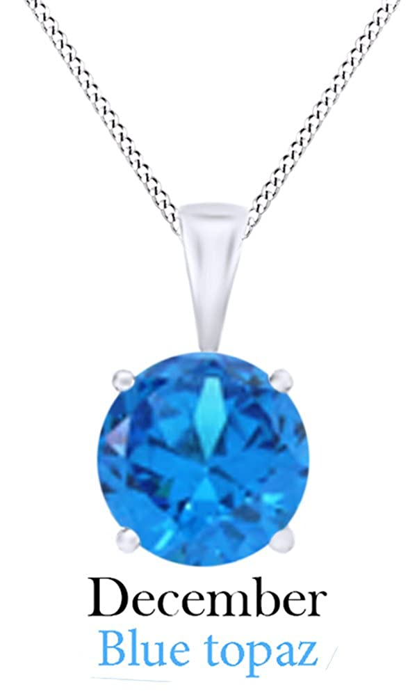 4 1//2 cttw Jewel Zone US Simulated Gemstone Round Shape Pendant Necklace in 10k Solid White Gold