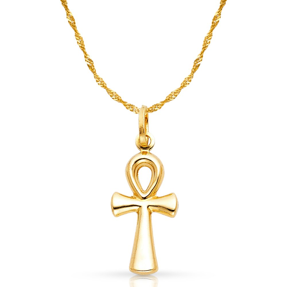 14K Yellow Gold Egyptian Ankh Cross Pendant with 1.2mm Singapore Chain Chain Necklace