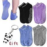nuosen 4 Pairs Non Slip Skid Yoga Socks, Women Yoga Socks Silicone Dot Grip Socks with Gripper Cotton for Barre Pilates Ballet Dance