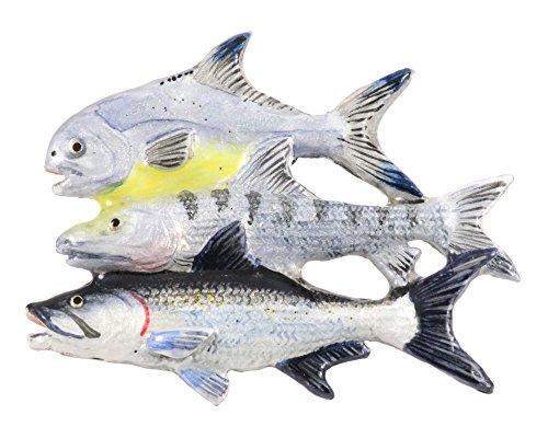 Gulf Grand Slam - Bonefish, Tarpon, Permit Saltwater Fish Hand Painted Rare Earth Refrigerator Magnet Gift, SP035PRM (Hand Fish Grande Design Painted)