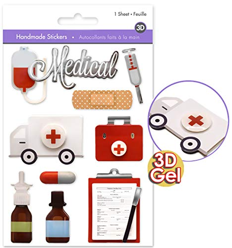 Doctor Stickers - Medical Stickers - 3D Puffy Pop Up Gel Stickers - Photo Safe - Dimensional Stickers - Scrapbooking Embellishments