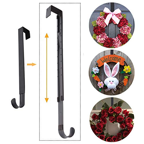 (AnCintre Wreath Hanger, Adjustable Length from 15 to 25 Inches Wreath Hanger for Front Door Heavy Duty with 20LB Upgrade Wreath Hook Holder for Christmas Decorations,)
