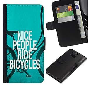 """[Neutron-Star] Modelo colorido cuero de la carpeta del tirón del caso cubierta piel Holster Funda protecció Para HTC One M8 [Niza Bicicletas Gente Ride Quote Eco Verde Estilo de vida""""]"""