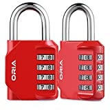 ORIA Combination Lock, 4 Digit Combination Padlock for School, Employee, Gym & Sports Locker, Case, Toolbox, Fence, Hasp Cabinet & Storage - Red and 2 Pack