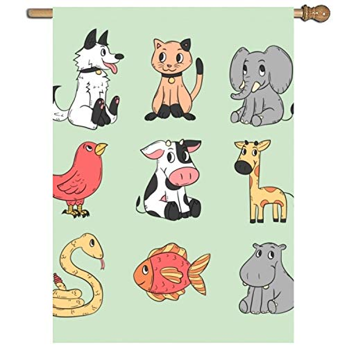 Dominic Philemon Hand Drawn Set of Cartoon Animals Garden Flag Decorative 1 Sided Vertical Flag