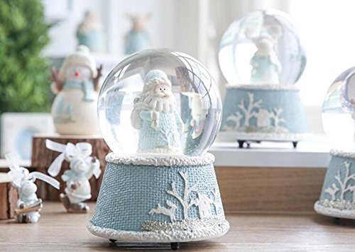 Santa Music Claus Box (Zhahender Lovely Desktop Decoration Merry Christmas Santa Claus Crystal Ball Music Box Clockwork Musical Boxes Xmas Decor Ornament Gifts)