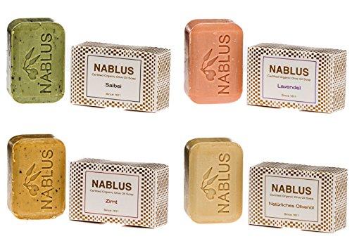 Nablus Soap natürliche Olivenölseife 4er Set (4 x 100g) Natürliches Olivenöl Lavendel Salbei Zimt, aus 80% extra nativem Olivenöl, handgemacht, für trockene Haut