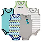 Luvable Friends 5-Pack Lightweight Sleeveless Bodysuits, Boy Sunglasses, 0-3 Months