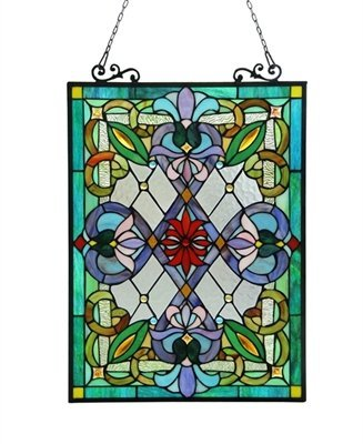 - Chloe Lighting IZZY Tiffany-Glass Victorian Window Panel 18x25