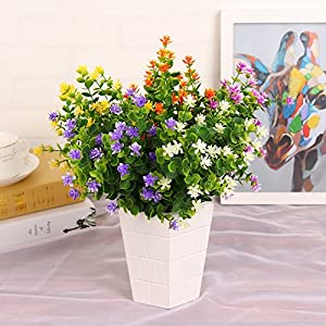 Kingbuy Artificial Flowers 6 Bundles Outdoor UV Resistant Plants Shrubs Plastic Leaves Fake Bushes Greenery for Plants Indoor Outside Hanging Planter Home Patio Yard Garden Decor Window Box 2
