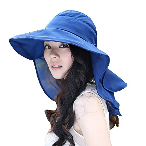 (Flyou Sun Hats Foldable Beach Cap For Women UPF50+ Wide Brim UV Protection Beach Hat Neck Face Flap Cap (Navy))