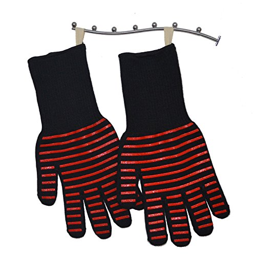 BBQ Gloves Grill Gloves Kitchen Oven Mitts 932°F Extreme Heat Resistant Gloves 14'' Long Cut Resistant and Forearm Protection baking & Grilling Gloves (1 Pair) by ITESTOO (Image #2)
