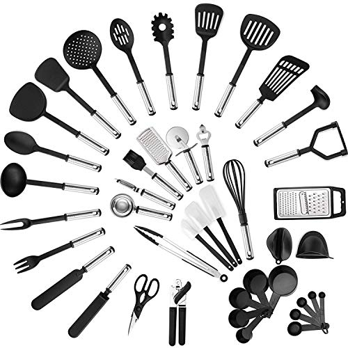 MAXXV Kitchen Utensil Set -42-Pieces Cooking Utensils – Nylon and Stainless Steel Utensil set – Nonstick Kitchen Utensils Spatula Set – Complete Cooking Tool set – Best Kitchen Gadgets for Gift