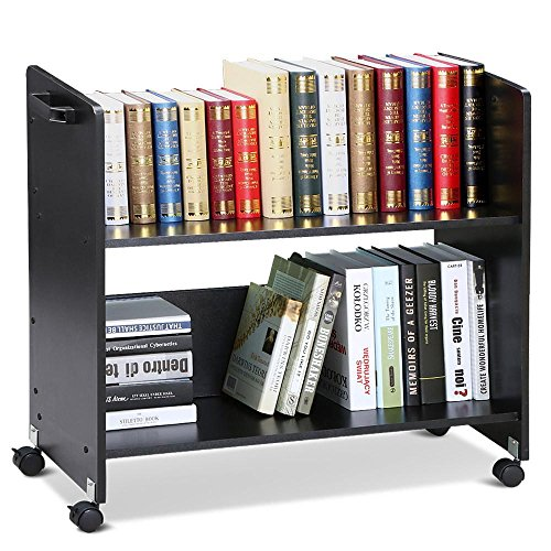 go2buy Movable Library Cart Welded Bookcase Rolling Book Storage Rack Trolley Black