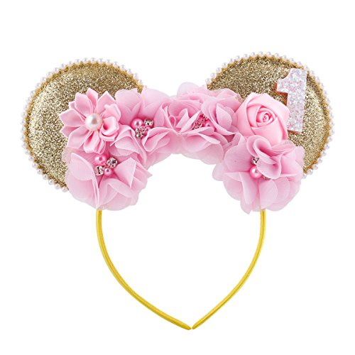 Lovefairy Lovely Mickey Mouse Ears Flowers Headband Hoop Hair Accessories for Birthday Party Travel Festivals -