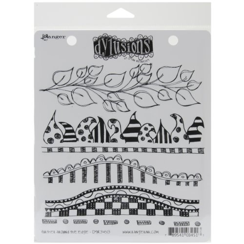Ranger Dyan Reaveley's Dylusions Cling Stamp Collections, 8.5 by 7-Inch, Further Around The Edge - Edge Stamp