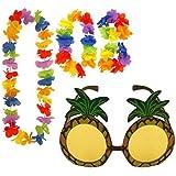 Pineapple Sunglasses & 4pc Hawaiian Multi-Coloured Lei Flower Garland Fancy Dress Set