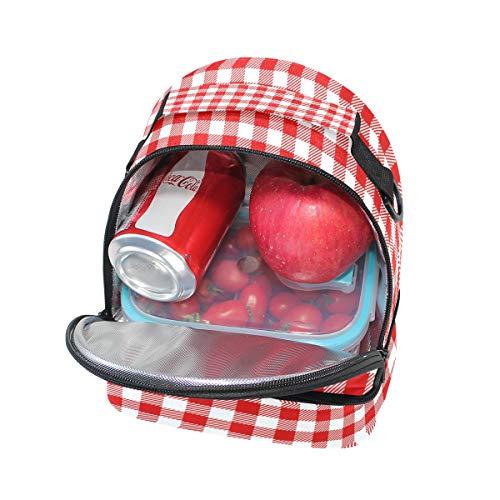 el almuerzo color estilo a correa para rojo con ajustable doble cuadros bandolera a picnic vintage para cuadros Bolso 04IUtwx