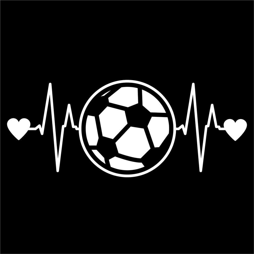 Soccer Ball Heartbeat Vinyl Decal Sticker   Cars Trucks Vans Walls Laptops Cups   White   7.5 X 3 Inch   KCD1210