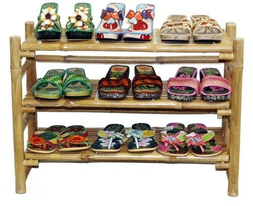 UPC 682821790843, Bamboo 3 Tier Folding Shoe Rack w Natural