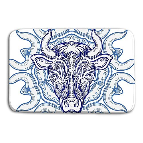Jieifeosnnxz Doormat Indoor Outdoor Bull Decorative Pattern Ellement Vector Clipart Tatoo Design mat]()