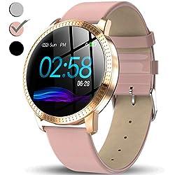 TURNMEON Women's Smart Watch, Waterproof Fitness Tracker, Color Touchscreen Sportwatch, Heart Rate, Blood Pressure, Sleep, Female Menstrual Record, Pedometer, Swim Bracelet Birthday Gift for Women
