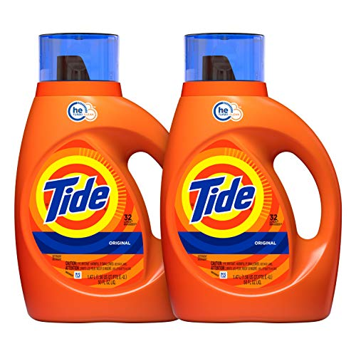 (Tide Original Scent HE Turbo Clean Liquid Laundry Detergent, 50 Fl Oz (32 Loads), 2 Count (Packaging May Vary))