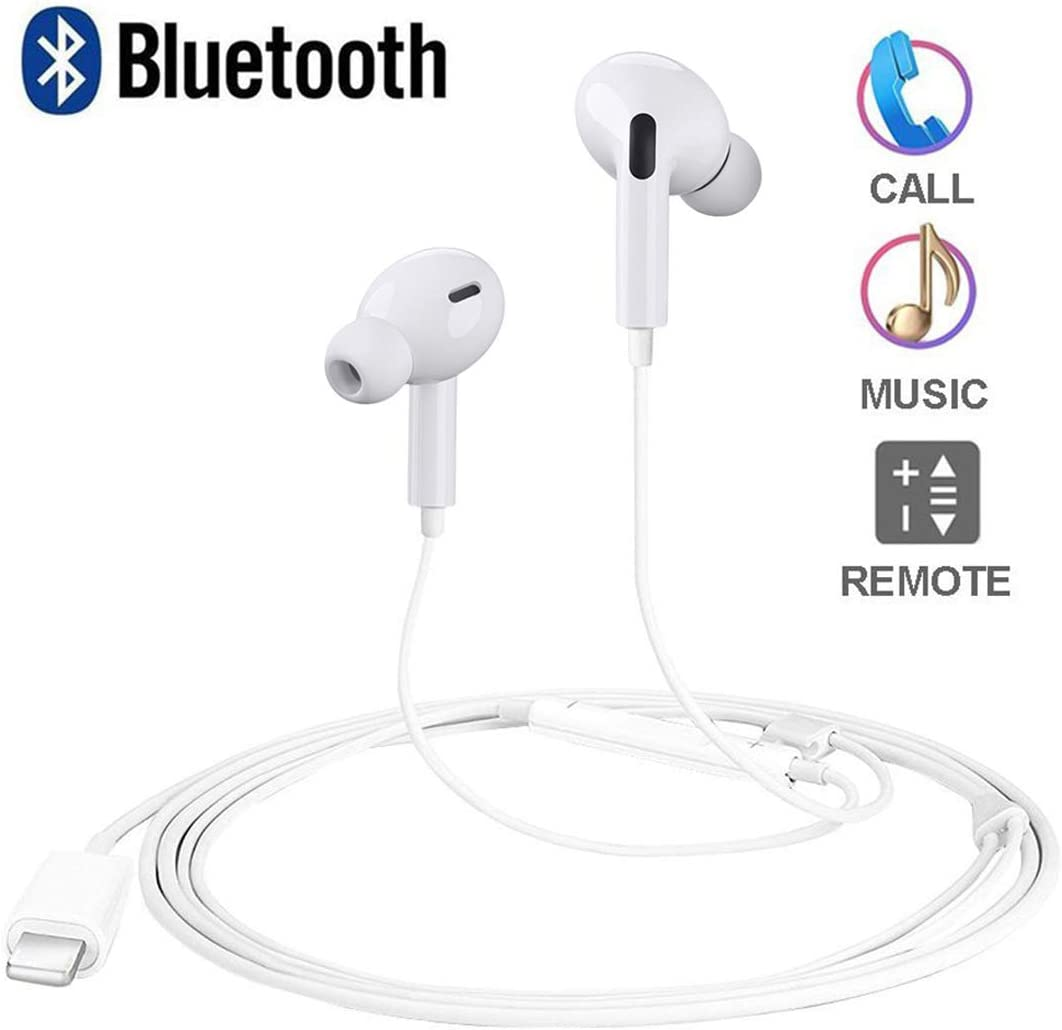 [Updated 2020 Version]Light ning Headphones for iPhone(Built in Microphone & Volume Control)EarphonesEarbuds in Ear MFi Certified Compatible with