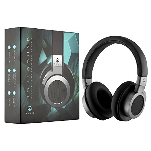 Paww SoulSound Bluetooth Headphones over Ear, Hi-Fi Stereo Wireless Headset, Soft Memory-Protein Earmuffs with Built-in MIC and Wired Mode for PC/Cell Phones/TV