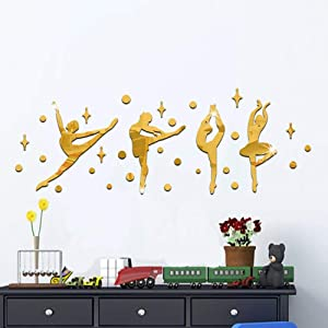"QISHENG Ballet Girl Mirror Dance Classroom Baby Girl's Room Bedroom Wall Stickers 39.4x14.2"" (Gold)"