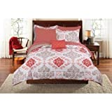 Teen Girls Pink Coral Damask 8 Piece Comforter Set, FULL Size Bed in A Bag with Sleep Mask